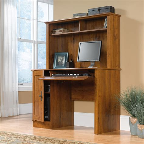 small computer desk with hutch harvest mill computer desk with hutch 404961 sauder