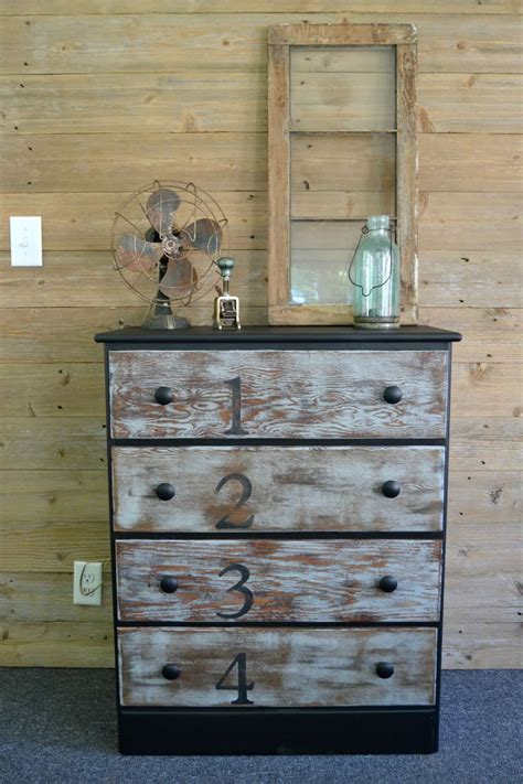 rustic dresser makeover  stain paint  numbers