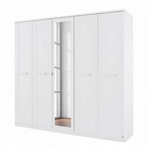 Armoire 90 Cm Largeur : armoire 5 portes blanc avec miroir kurik ~ Teatrodelosmanantiales.com Idées de Décoration