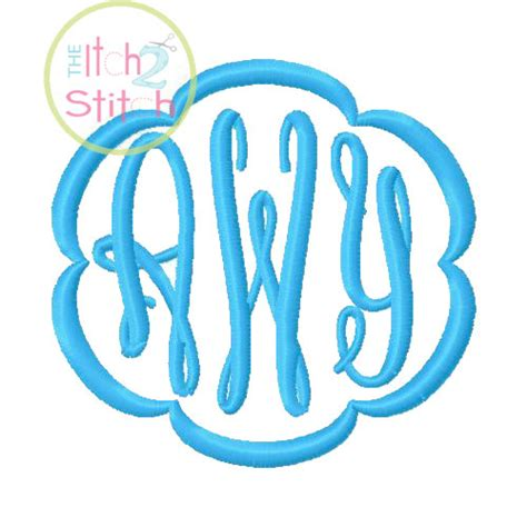 fancy oval monogram font  frames  machine embroidery