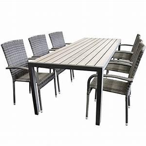 Gartentisch Non Wood : elegante 7tlg gartengarnitur aluminium polywood non wood 205x90cm gartentisch sitzgruppe rattan ~ Eleganceandgraceweddings.com Haus und Dekorationen