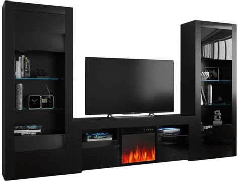 milano set ef bk bk electric fireplace modern wall unit