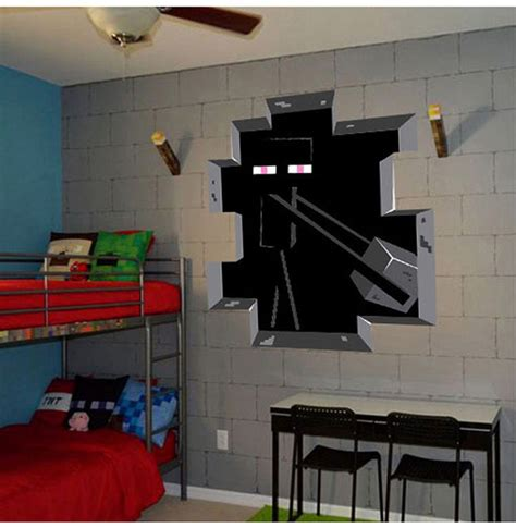 how to make a wall at home minecraft wall sticker home decor minecraft enderman decal diy removable 3d wall sticker for