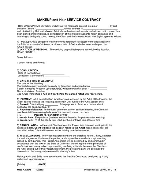 makeup artist contract form bridal hair cotract sle makeup services contract