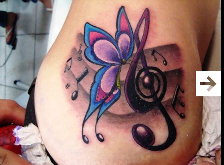 note tattoo designs tattoos butterfly  note mymusic tattoos unique butterfly