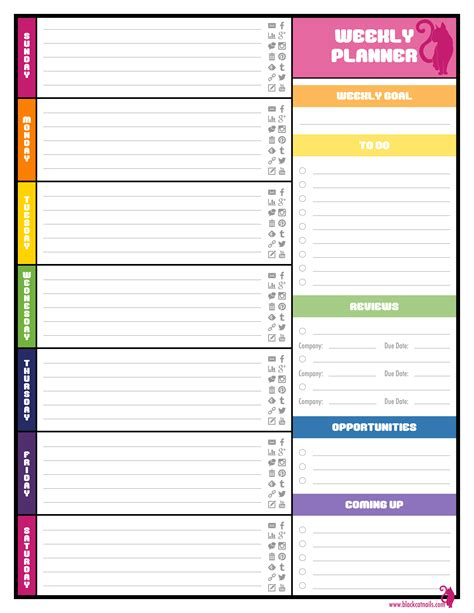colorful weekly blogging planner image blog life