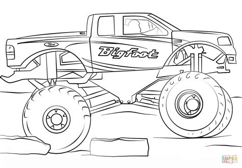 bigfoot monster truck coloring page  printable