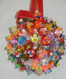 vintage handmade beaded styrofoam ornament sequin pin