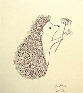 Original Ink Drawing Print Ivory Cute Hedgehog Flower by ...