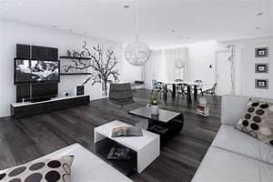 amenagement decoration salon noir et blanc design With deco noir et blanc salon