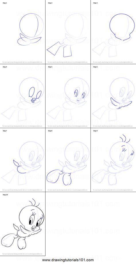 draw tweety  looney tunes printable step