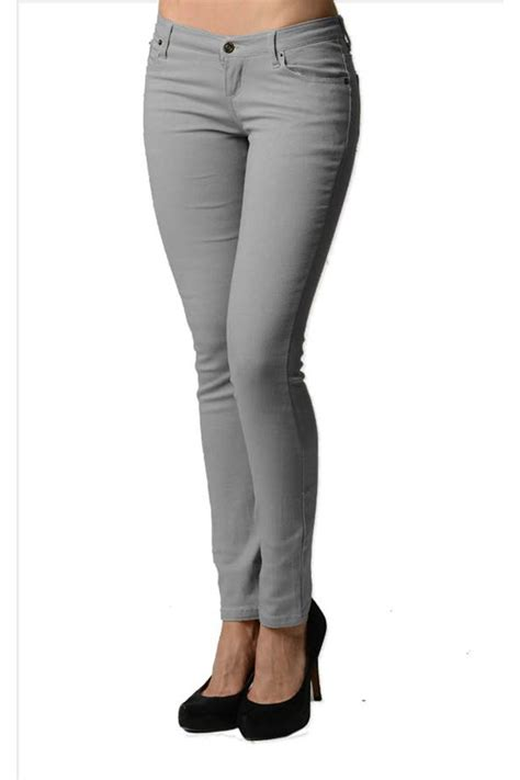 Smooth Grey Colored Denim - Skinny Jeans - Fashion Outlet NYC