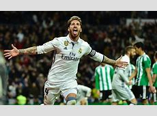 Real Madrid 21 Real Betis Sergio Ramos heads the winner
