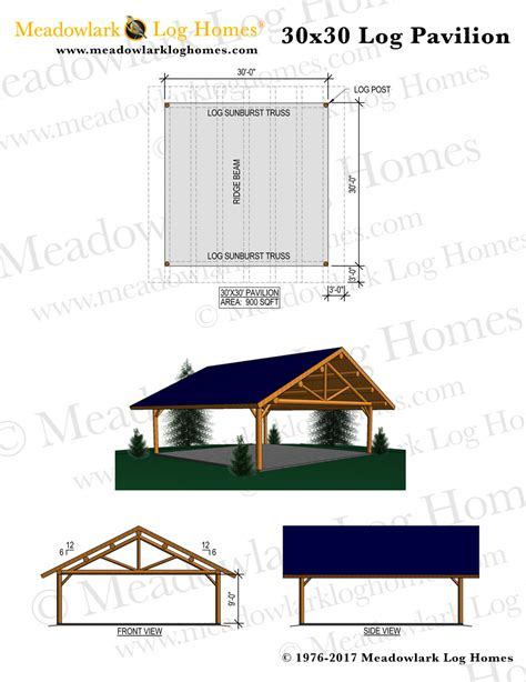 30x30 log pavilion meadowlark log homes