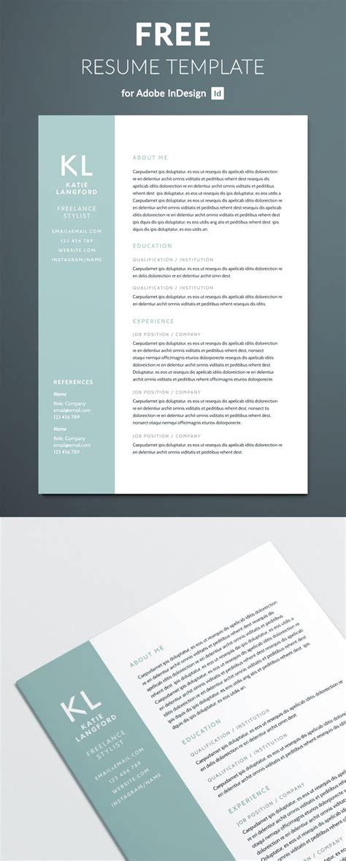 modern resume template  indesign