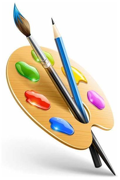 Palette Vector Artist Svg Graphic Wooden Brushes