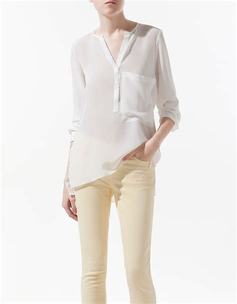 zara blouse zara silk blouse with pocket in white lyst