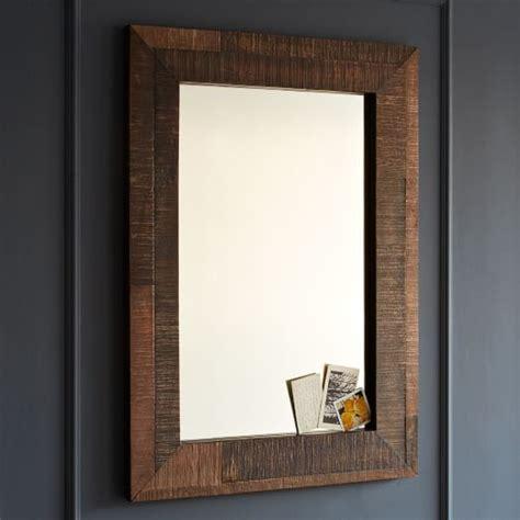wooden bathroom mirrors reclaimed wood wall mirror west elm 15225