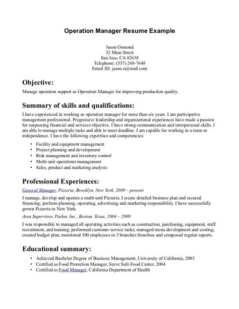 operations manager resume summary resume ideas