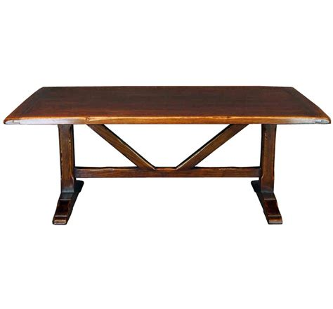 solid oak trestle refectory table with thick