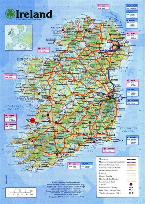 large detailed road map  ireland  cities airports