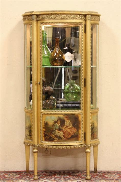 SOLD - Curved Glass Gold Leaf French Vitrine or Curio