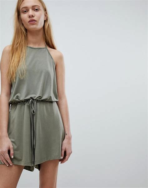 dr denim tie neck romper asos