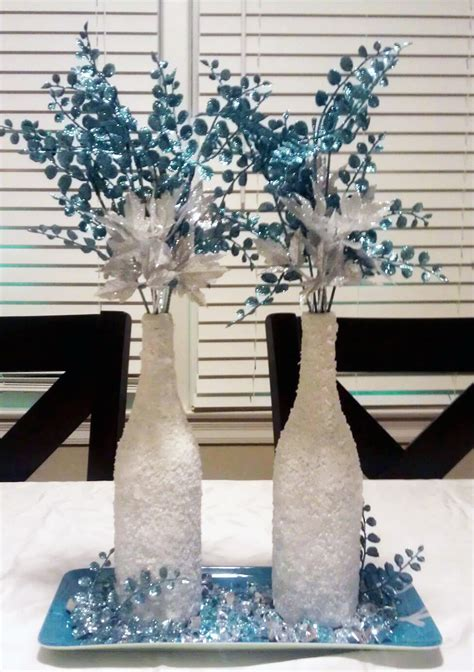 Center Table Decorations For Quinceaneras by Monica S Creative Crafts Winter Wonderland Wine Bottles
