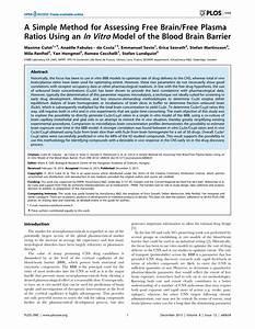 (PDF) A Simple Method for Assessing Free Brain/Free Plasma ...