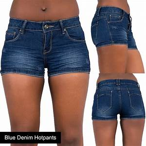 New Ladies Womens Blue Denim Shorts High Waisted Ripped Sexy Hotpants Jeans 6-22 | eBay