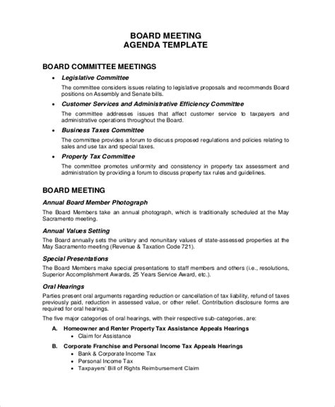 sample meeting agenda templates   ms word