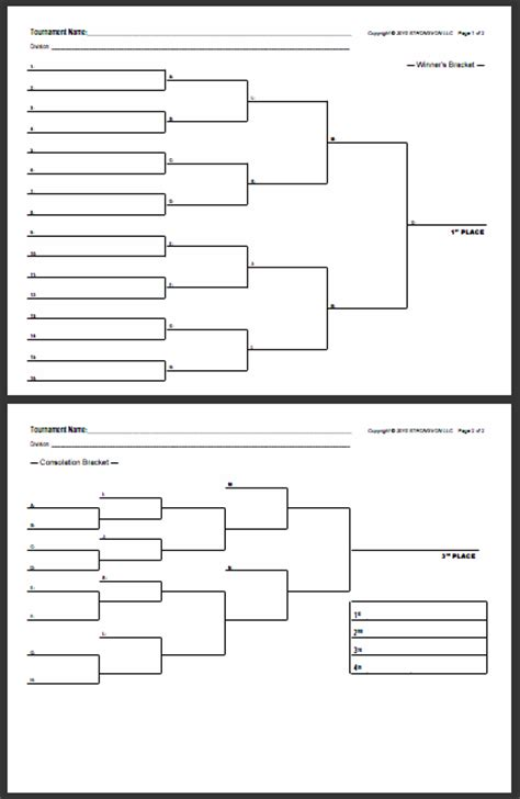 tournament draw sheets templates strongvon free blank bracket sheets