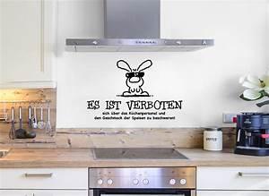Wandtattoo Sprüche Küche : wandtattoo spruch es ist verboten lustiger hase w5045 ~ Frokenaadalensverden.com Haus und Dekorationen
