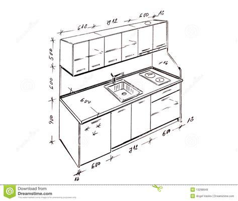 plan de cuisine en l modern interior design kitchen freehand drawing stock