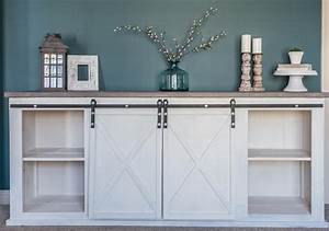 rustic sliding barn door console With buffet table with barn doors