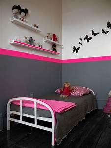 deco chambre bebe fille rose et gris With chambre enfant gris et rose