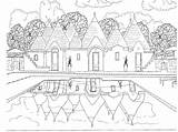 Coloring Adults Pages Scene Scenery sketch template