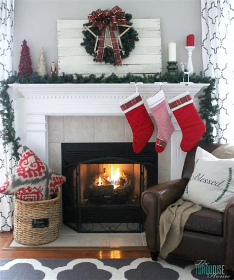 traditional red green christmas mantel  turquoise home