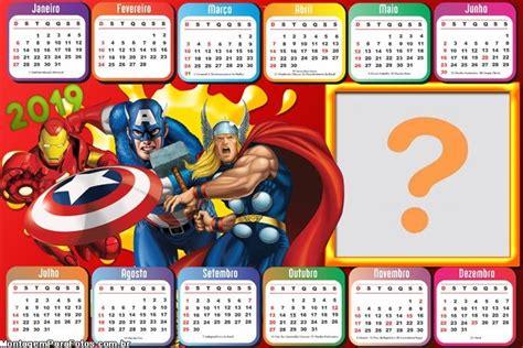 calendario marvel personagens montagem fotos