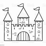 Castle Outline Drawing Simple Cartoon Sketch Coloring Illustration Linear Contour Vector Dome Palace Drawn Background sketch template