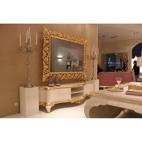 canapé design cuir italien meuble tv bas de luxe 2 portes venize et miroir tv intégrée