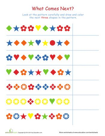 complete the patterns 1 sequencing pattern worksheet