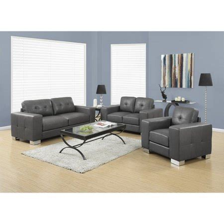 Sofa Set In Walmart by Monarch 3 Leather Sofa Set In Charcoal Gray