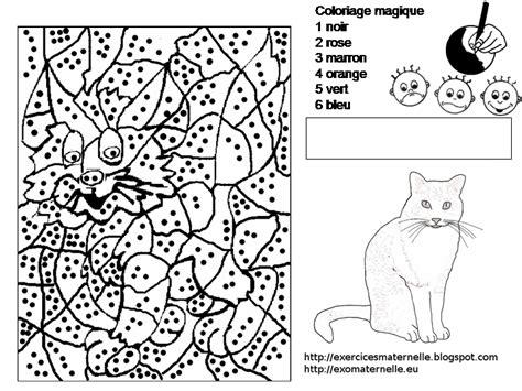 maternelle coloriage magique  chat
