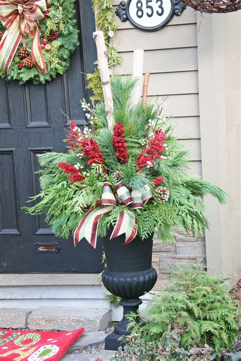 outdoor christmas planters ideas