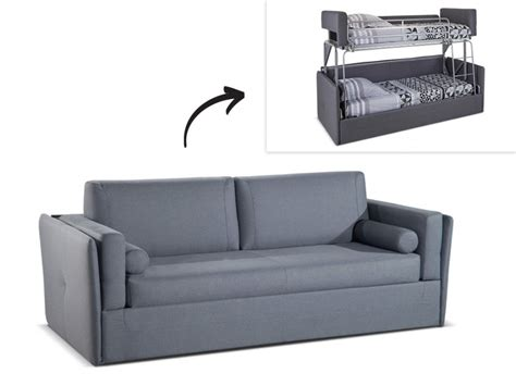 canap lit 3 places convertible canapé 3 places convertible superposé en tissu gris chana