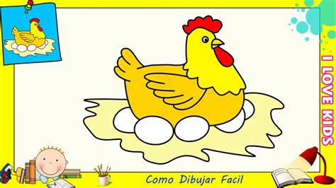 Como dibujar una gallina FACIL paso a paso para niños y