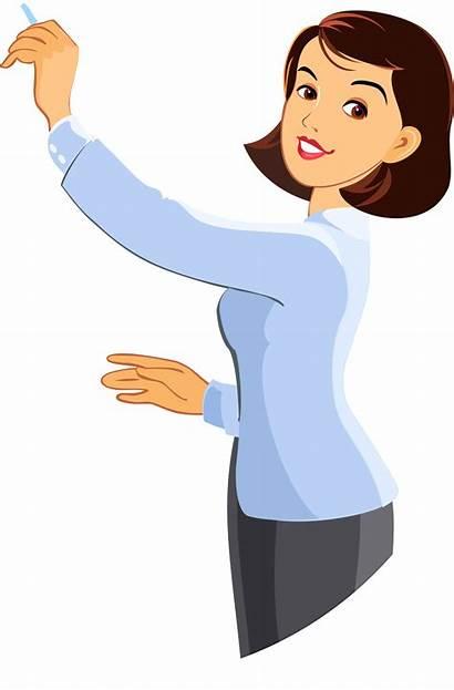 Teacher Transparent Clipart Cartoon Woman Clip Writing