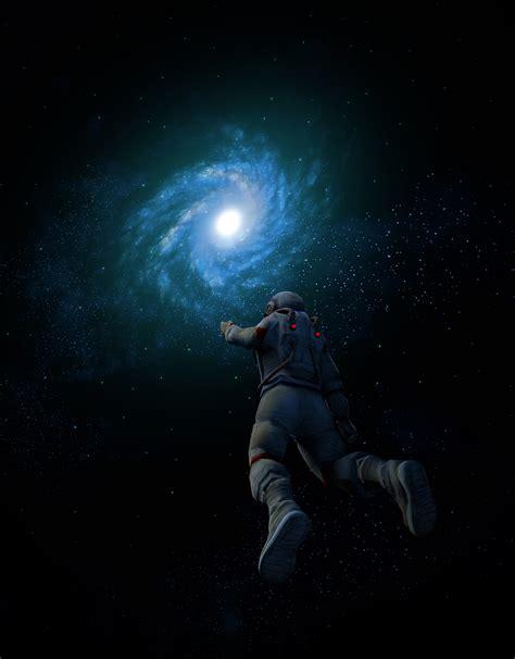 wallpaper astronaut spiral galaxy space suit nebula