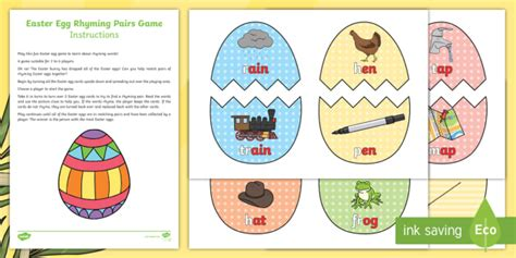 easter egg rhyming pairs game eyfs early years ks